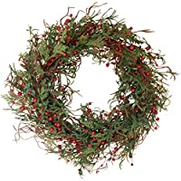 Marion Winter Berry Wreath 24 Inch - Versatile Woodsy Winter Wreath, Approved for Covered Outdoor Use, with Beautiful White Gift Box for Christmas