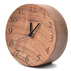 belaDESIGN Handmade Black Walnut Wood Round Silent Table Alarm Clock