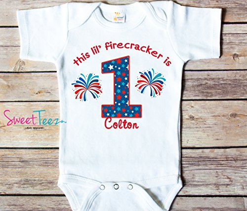 My First Birthday Shirt, 4th Of July Birthday Shirt, My 1st Birthday Shirt, Little Firecracker Birthday Personalized Shirt ()