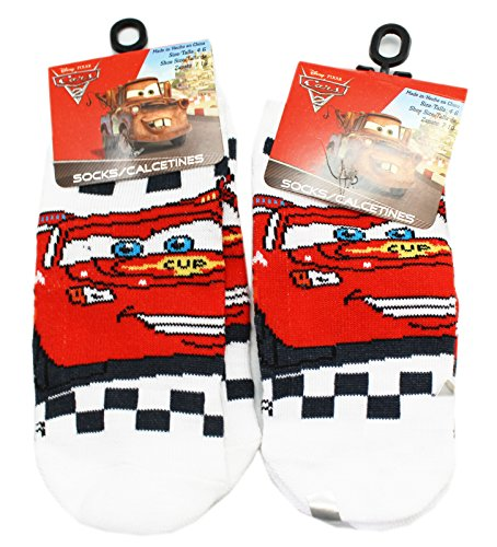 Disney Pixar's Cars Lightning McQueen White/Blue Socks (2 Pairs, Size 4-6)