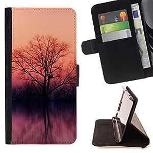 - Lake trees - - Monedero PU titular de la tarjeta de cr????dito de cuero cubierta de la caja de la bolsa FOR Samsung Galaxy S4 IV I9500 RetroCandy