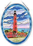 Amia Oval Suncatcher with Ponce de Leon Inlet Lighthouse Design, Hand Painted Glass, 6-1/2-Inch by 9-Inch