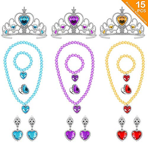 ACEHOOD 15 Pcs Princess Dress up Belle Elsa Sofia Crown Tiara Necklace Bracelet Earrings Party Accessories for Girls