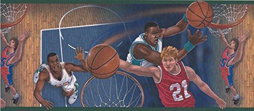 Wallpaper Border - Green Basketball Close Up Shots Prepasted Wall Border ()