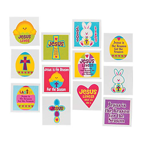 Fun Express - Jesus is The Reason Tattoos for Easter - Apparel Accessories - Temporary Tattoos - Regular Tattoos - Easter - 72 Pieces]()