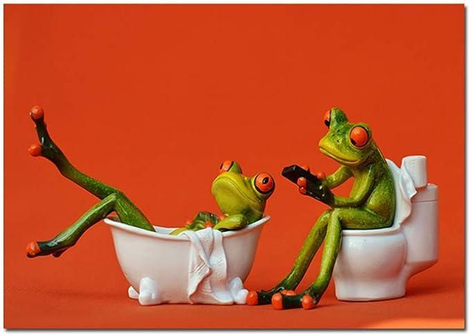 wzgsffs Las Ranas en el baño en la Pared Estirada Carteles Cuadros Pinturas sobre Lienzo Arte de la Pared para la decoración del baño -50x70cm Sin Marco