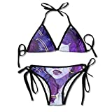 Most Fashion Maker Ladies African American Painting Art Purple Printing Summer Sexy Two Pieces Swimsuit