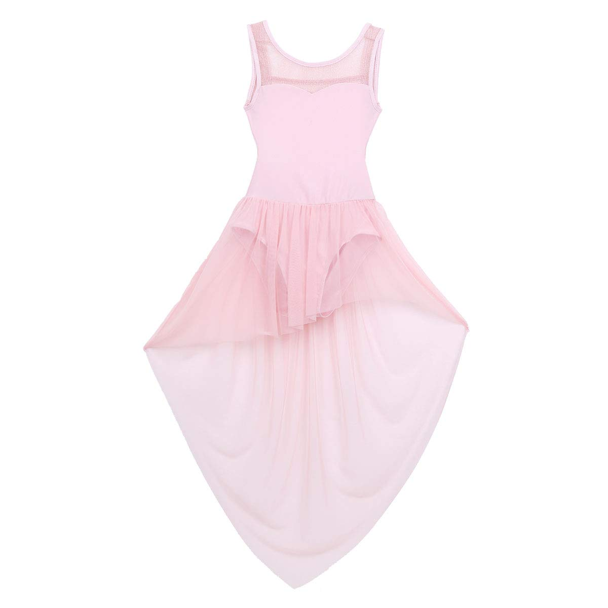 Freebily Justaucorps Gymnastique Ballet Enfant Fille Robe Latine Danse Contemporaine Asym/étrique Robe Danse Salon Rumba Zumba Salsa Fille Robe Bal F/ête Dancewear 4-14 Ans