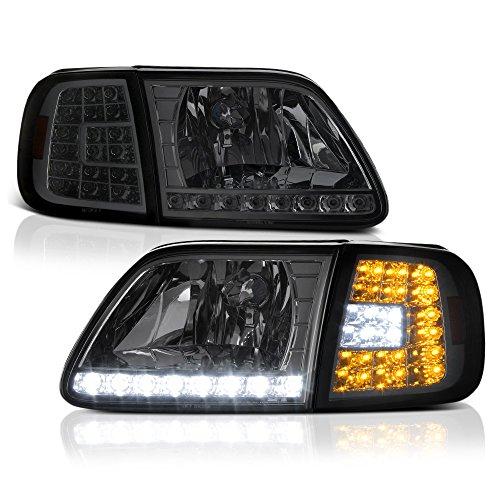 VIPMotoZ 1997-2003 Ford F-150 Expedition Headlights - Metallic Chrome Housing, Smoke Lens, LED Daytime Running Lamp Strips, Driver and Passenger Side