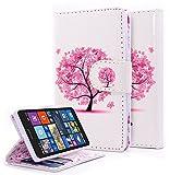 Lumia 435 Case, NageBee - Microsoft Lumia 435 Wallet Flip Case Pouch Cover Fold Stand case Premium Leather Wallet Flip Case (Wallet Butterfly tree)
