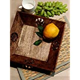 Wooden Serving Tray Basket Wooden Hand Carved and Iron Rods Kitchen Serveware