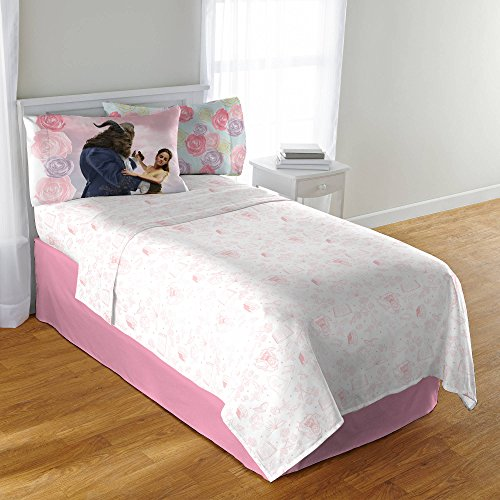 Enchanted Twin Comforter - CA 3 Piece Kids Girls White Pink Beauty And The Beast Sheet Set Twin Sized, Yellow Dress Belle Bedding Disney Princess Pattern Florals Enchanted Movie Themed Cute Princesses Pretty, Polyester
