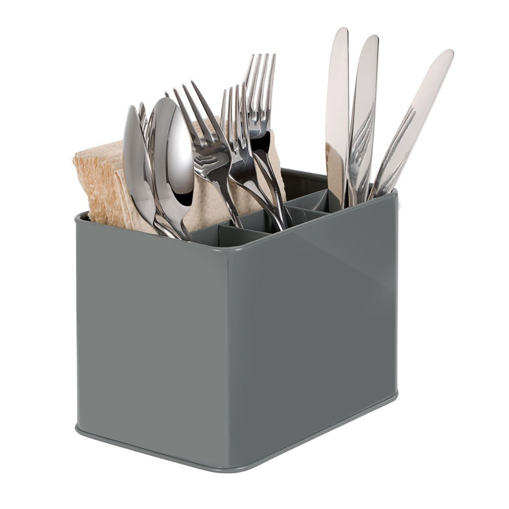 Utensil Caddy Compartment Holder Cutlery Flatware Storage Box Holder Spoon Fork Container Condiment Holder, Organizer Container Storage for Silverware (Gray)-by GA Homefavor Ga Home Style
