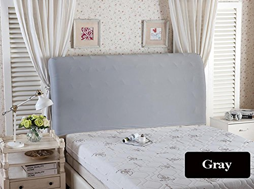 WOMACO Bed Headboard Slipcover Protector Stretch Solid Color Dustproof Cover for Bedroom Decor - Cal King, Gray