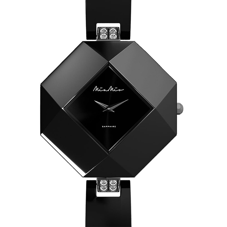 Mia-Mio Keramik Schwarz Swiss Quartz Edelstahl Saphir Kristall PRECIOSA Damen Uhr