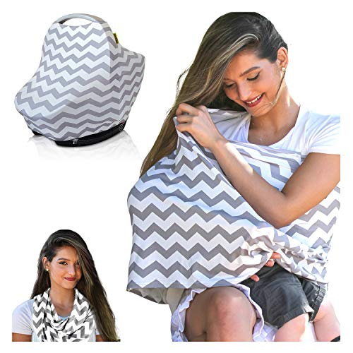 Nursing Cover | Breastfeeding Scarf, Baby Car Seat Canopy, Shopping Cart, Stroller, Carseat Stretchy Covers Unisex Girls and Boys (Gray/White Chevron)