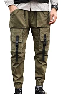 Cromoncent Mens Straight Leg Combat Cargo Big Tall Multi Pockets Pants