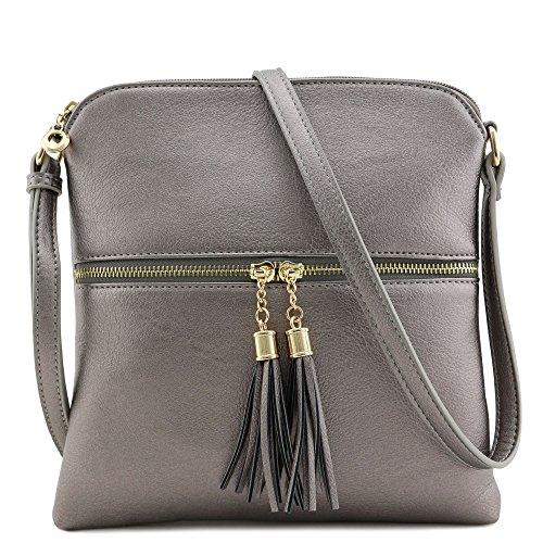 Tassel Zip Pocket Crossbody Bag - Pewter Womens Handbag