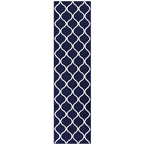 10' X Blue 2'6 Runner (Maples Rugs Runner Rug - Rebecca 2'6 x 10' Non Skid Hallway Carpet Entry Rugs Runners [Made in USA] for Kitchen and Entryway, Navy Blue/White)
