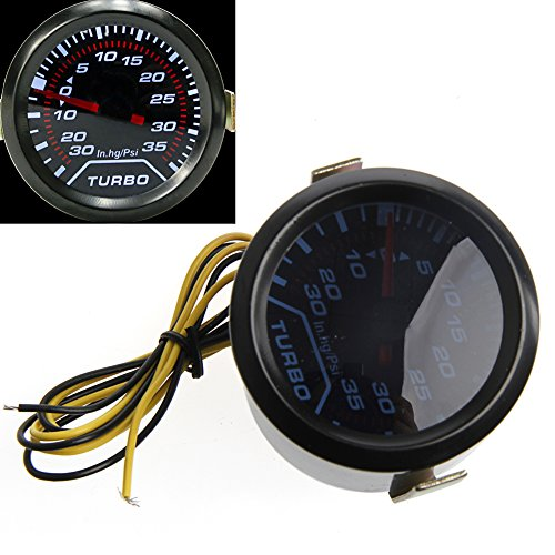 haia7k4k Digital LED Turbo Boost Meter Gauge, 52mm 2″ Universal White Gauge Smoke Tint Lens Psi:
