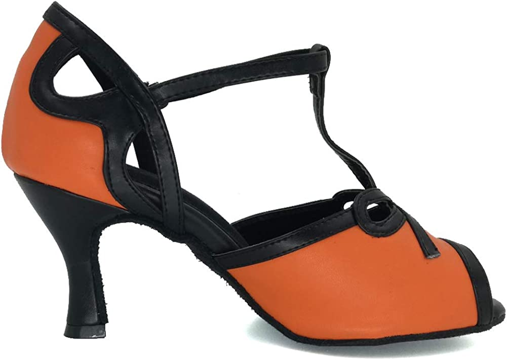 Misu Womens Peep Toe Sandals Latin Salsa Tango Practice Ballroom Dance Shoes with 3 Heel