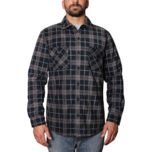 - Freedom Foundry Mens Super Plush Shirt (Medium, Black/Grey/Blue)