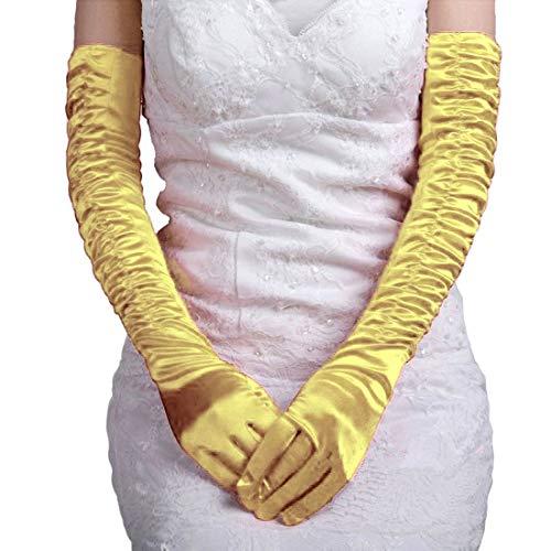 Opera Dc Halloween (Women Halloween Black Long Gloves Evening Costume Wedding 1920s Dance Opera Party (DC satin Ruffle)