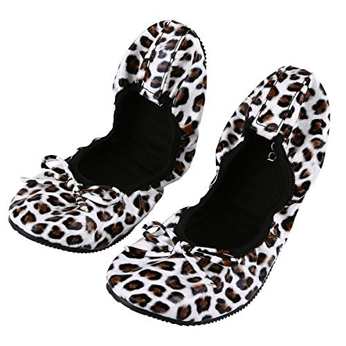 Women's Foldable Portable Travel Ballet Flat Fold up Shoes Comfortable Party Roll up Shoes w/ Matching Carrying Bag (M(Women Size 6.5-7.5 ), Leopard)