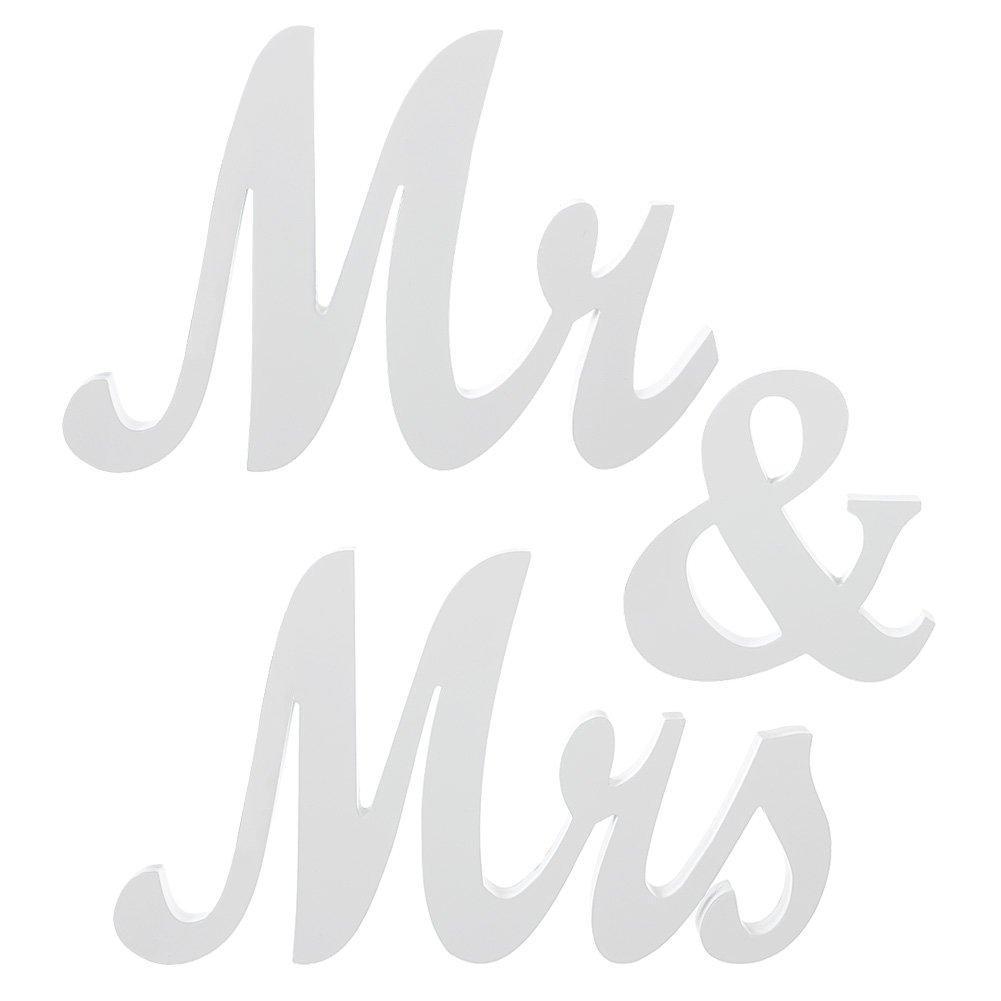 Mr mrs white wooden letters large vintage wedding for Decoration 9 letters