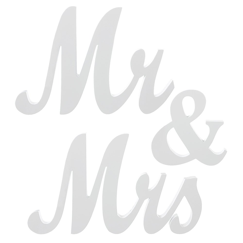 Ling's moment 6'' Tall 22'' Wide 3/4'' Thick Extra Stable White Wooden MR & MRS Wedding Sign for Beach Wedding Elegant Sweetheart and Reception Top Table Sign with 4pcs Wood Bases