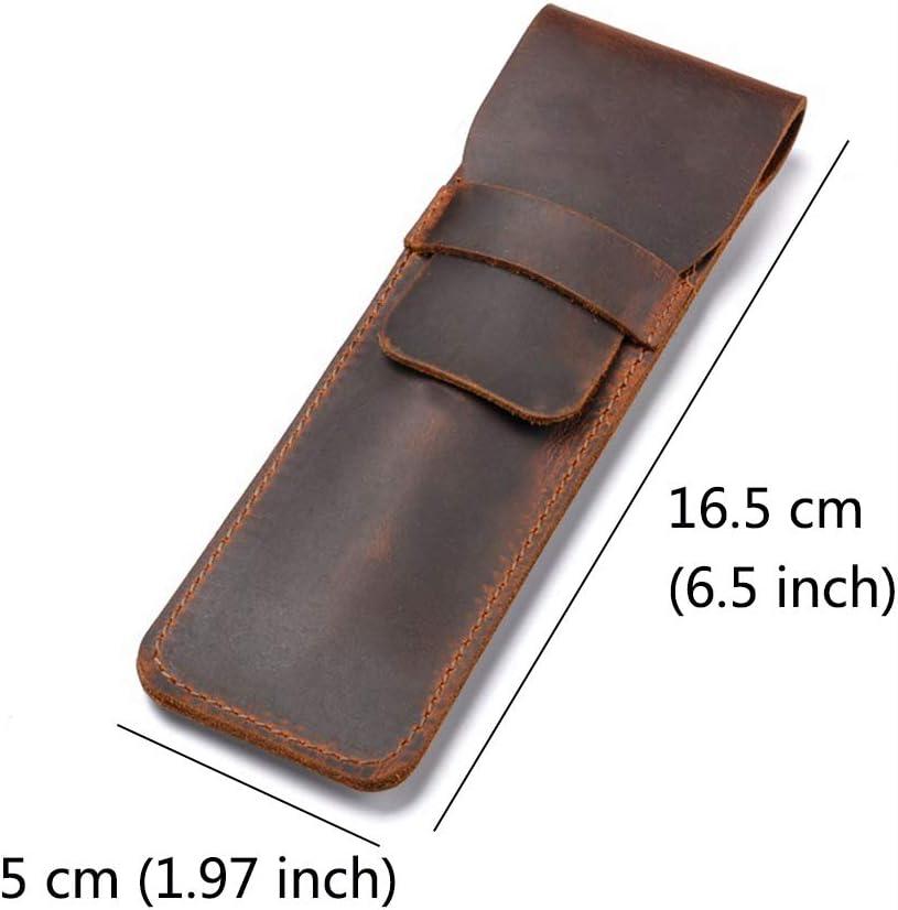 Jurxy Porte-stylo en cuir Fontaine /à la main Pochette multi stylos Cuir de cheval fou Stylo de protection Couverture de manche marron
