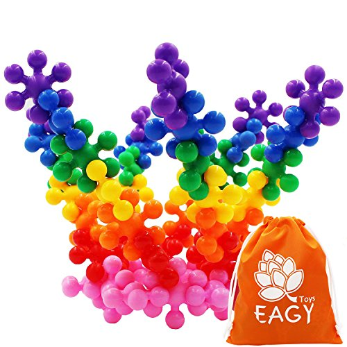 EAGY Building Blocks, STEM Toys Kids Educational Toys Building Discs Sets Interlocking Solid Plastic for Preschool Kids Boys and Girls, 120 Pieces - Safe Material for Kids -