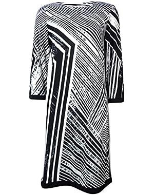 Calvin Klein Women's Asymmetrical Stripe Print Jersey Dress