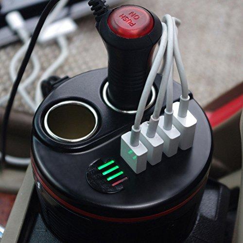 Mikobox 80W 12V 7.2A Cup Holder Car Charger Inverter Dual Cigarette Lighter Socket Splitter and 4 USB Charging Ports with Battery Tester