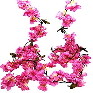 Hukidoy Artificial Cherry Blossom Garland Hanging Vine Fake Flowers Silk Garland Home Wedding Party Decor (Pack of 2) 57