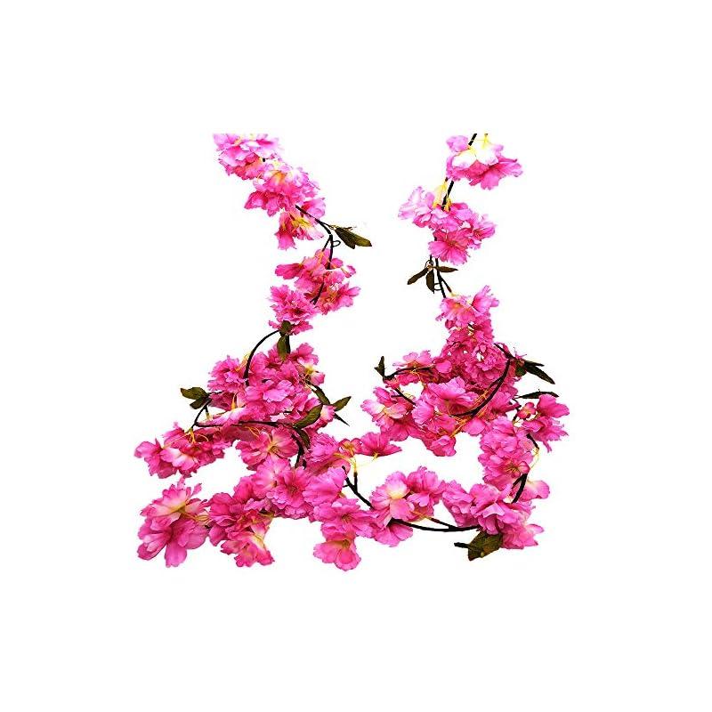 silk flower arrangements hukidoy artificial cherry blossom garland hanging vine fake flowers silk garland home wedding party decor (pack of 2)