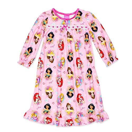 Disney Princess Girls Flannel Granny Gown Nightgown Pajamas (3T, Light (Disney Princess Gowns For Kids)
