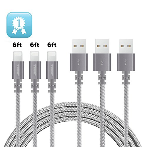 Lightning cable TIMMY 3Pack 6FT Nylon Braided IPhone Charger certified to charging Cable with charging indictor powerline for iPhone 5/5C/5S/6S/6S PLUS/7/7 plus, iPad Air, and more (Gray)