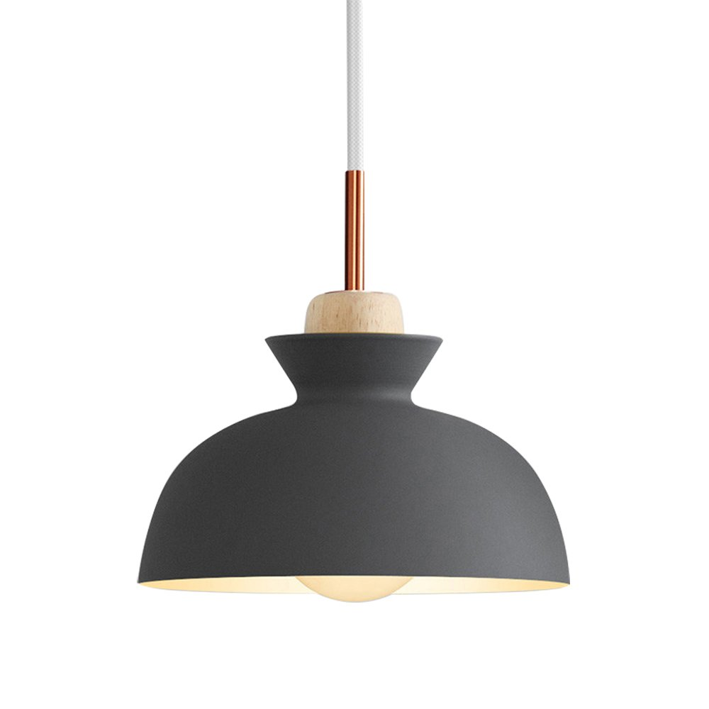 Modern Pendant Ceiling Light Nordic Macaron Aluminum+Wood Chandelier Fixture Kitchen Pendant Lighting Living Room Pendant Lighting-UL Certification (Gray-C)