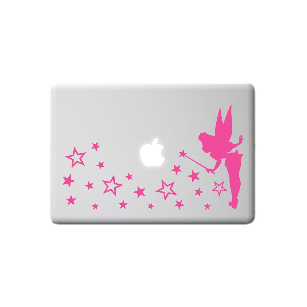 Small TINKERBELL FAIRY Pixie and star dust wall sticker decal art for baby girls nursery, laptop, mirror, window, PINK, 29x16.5 cm TopZog