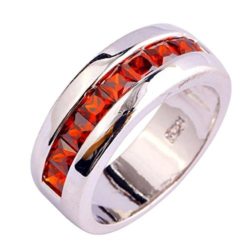 [Psiroy Women's 925 Sterling Silver 1.5cttw Garnet Half Eternity Filled Ring] (Solid Sterling Silver Square Braid)
