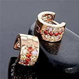 Gorgeous Elegant Colorful Cubic Zirconia Crystal 18K Gold Plated Hoop Earrings