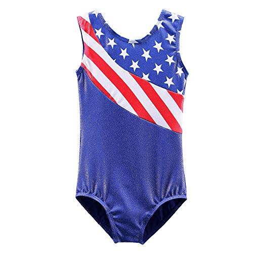 Girls Leotards for Gymnastics Blue American Flag Sparkle Spliced Athletic Dancewear B149_US_8A