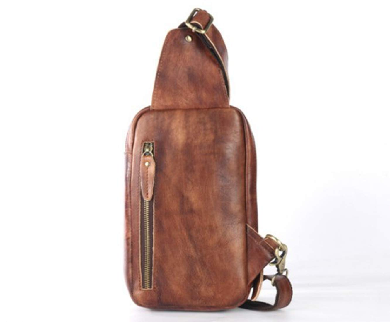 Color : Photo Color RABILTY Mens Genuine Leather Chest Bag Crossbody Shoulder Bag Messenger Bag for Casual Business Sport Travel Brown