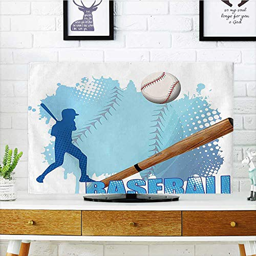 (Leighhome Cover for Wall Mount tv Sports A Baseball Player with Basic Game Icons Kicking with Bat Cover Mount tv W36 x H60 INCH/TV 65