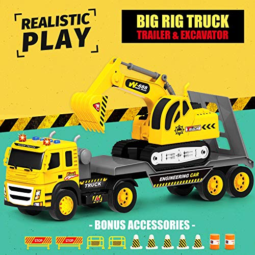 Flatbed Truck w/ Excavator Tractor - 1:12 Scale Large Size Toys - Push and Go Toy Trucks, Construction Trucks for Toddlers, Boys and Girls Ages 3 4 5, Realistic Friction Truck w/ Lights and Sounds