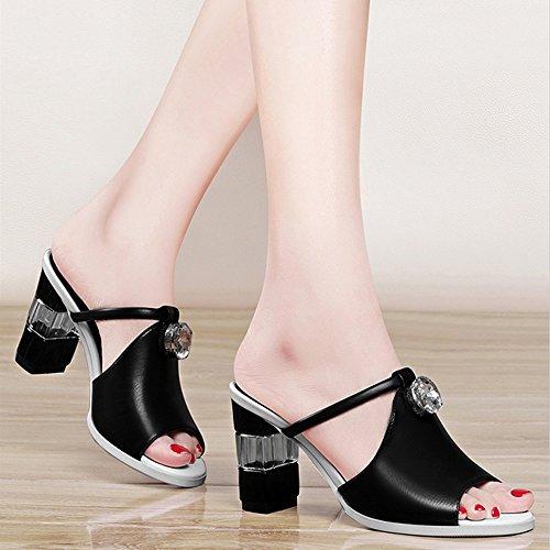 Thick Women Bianco Scarpe Alti Outdoor New Eu36 cn36 Cool Sandali colore Pantofole Sandals Chuanlan uk4 Moda Wild Summer Tacchi Coreano Con Nero Nero Dimensioni xqTwpXO86