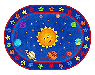 ECR4Kids Out of this World Alphabet Educational Rug, Oval,