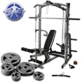 Marcy Platinum Smith Machine Home Gym & Weight Bench With 90kg Olympic Weight Set