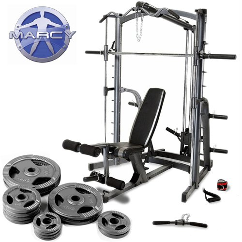 Marcy Platinum Smith Machine Home Gym U0026 Weight Bench With 90kg Olympic  Weight Set: Amazon.co.uk: Sports U0026 Outdoors